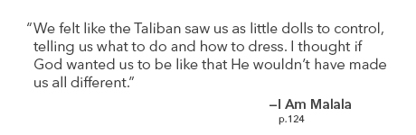 Quote: We felt like the Taliban saw us as little dolls to control...if God wanted that He wouldn't have made us all different.
